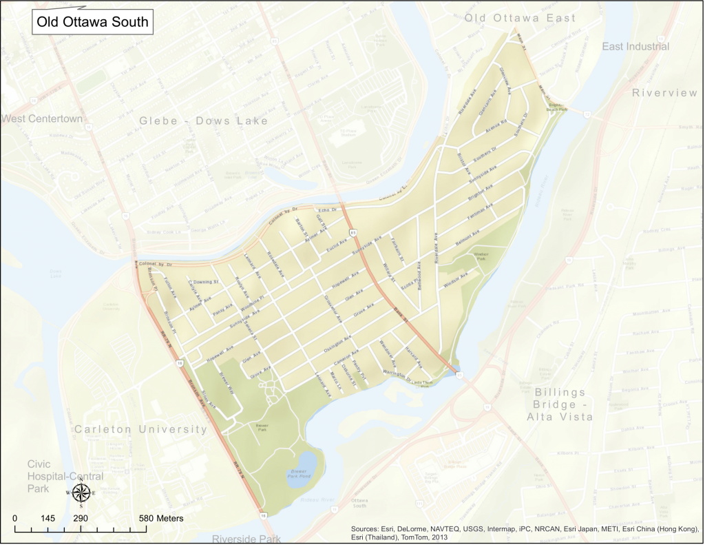 Map of Old Ottawa South